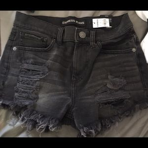 Express High Waist Black Distressed Denim Shorts